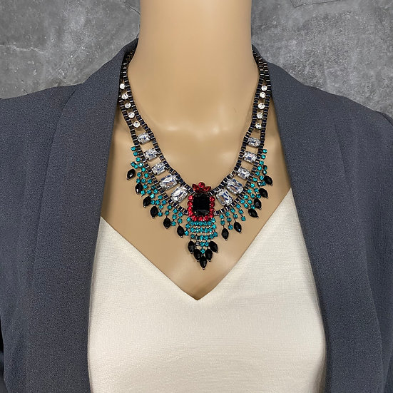 Red & Turquoise Rhinestone Statement Necklace