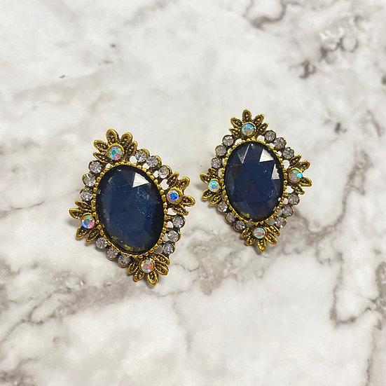 Diamond Jeweled Stud Earrings - Navy