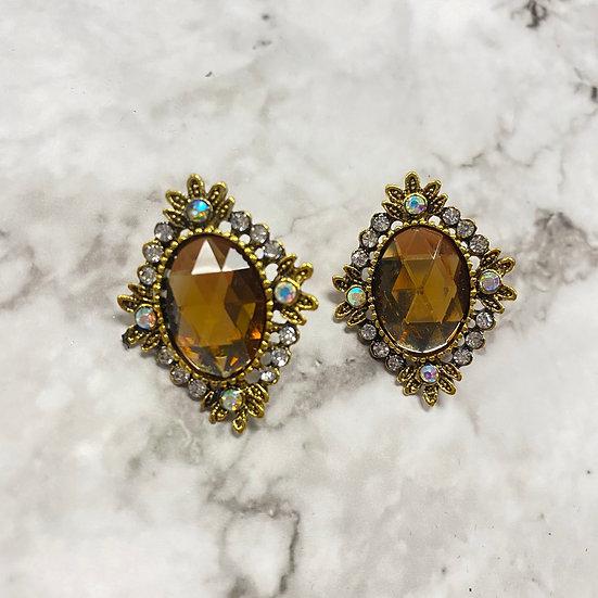 Diamond Jeweled Stud Earrings - Gold