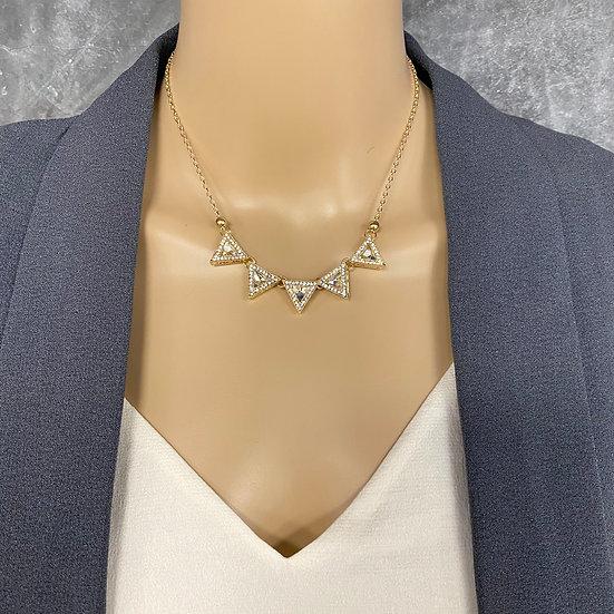 Triangle Rhinestone Short Chain Necklace