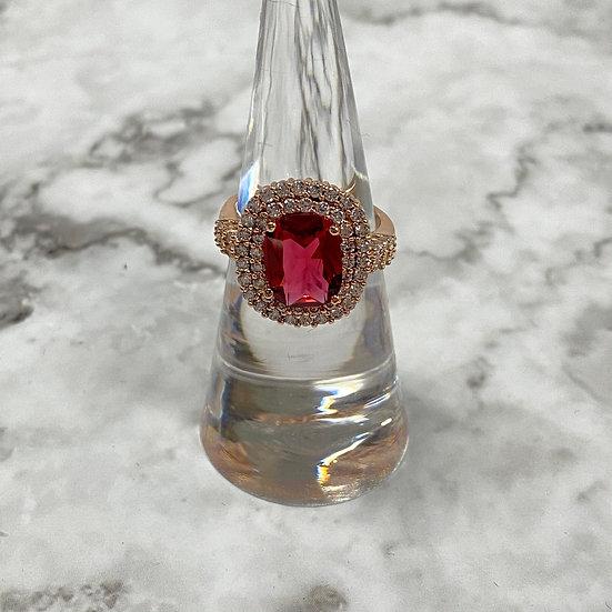 Rose Gold Ring with Rhinestones & Garnet Center Jewel