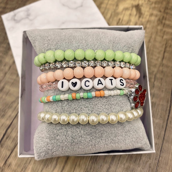 Giving Chains Bracelet Set - I <3 Cats