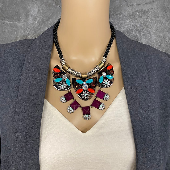 Black Rope Jeweled Statement Necklace
