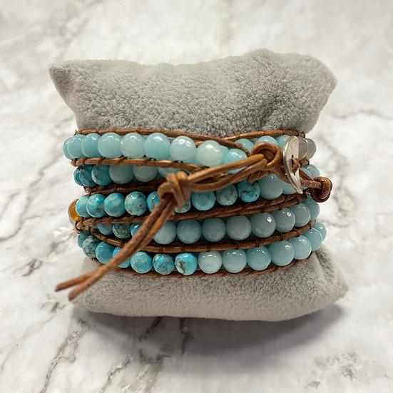 Beaded Wrap Bracelet - Tan & Aqua