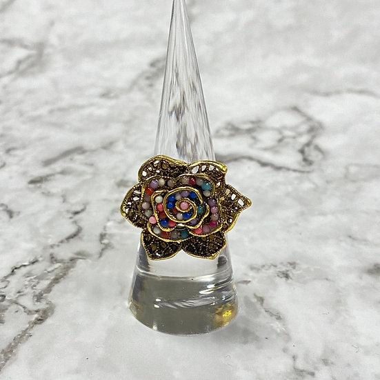 Boho Filigree Flower Gold Statement Ring