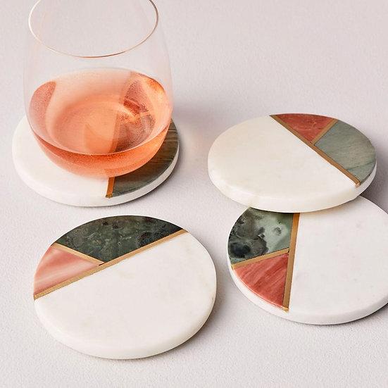 Marble Geometric Ceramic Coasters - Arts & Craft Kit