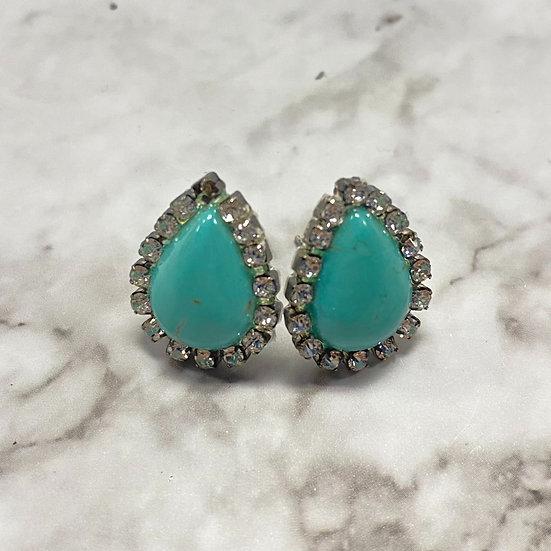 copy of Rhinestone Teardrop Stud Earrings - Jade