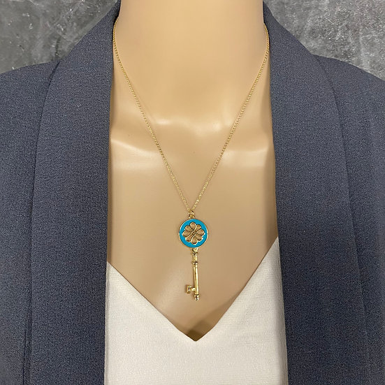 Gold Chain Necklace with Turquoise & Gold Key Pendant