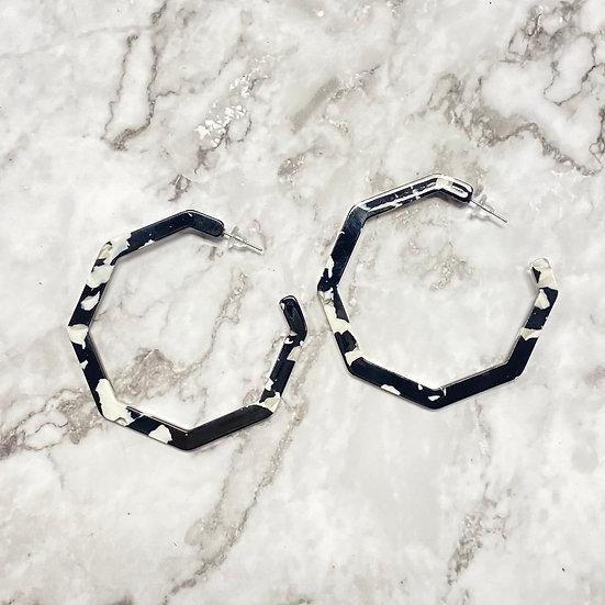 Black & White Resin Octagon Hoop Earrings