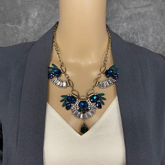 Art Deco Rhinestone Necklace - Peacock