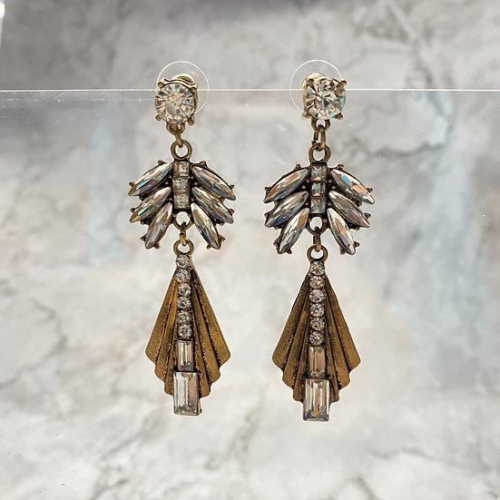 Rhinestone Art Deco Drop Earrings