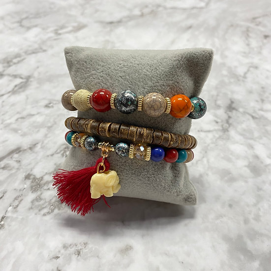 Beaded Stacking Bracelets - Multi w/Elephant
