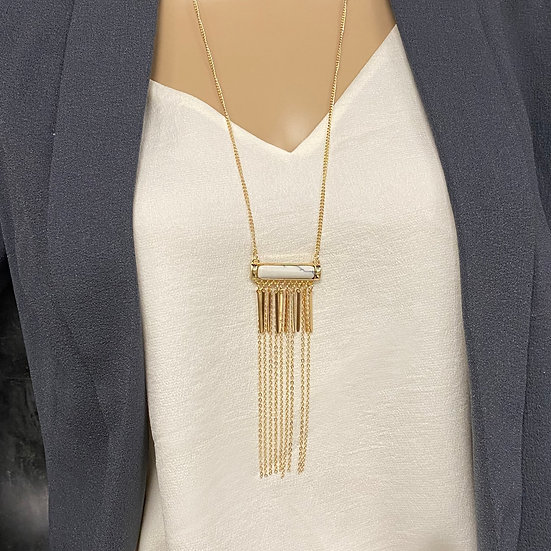 Marble Stone Long Chain Tassel Necklace