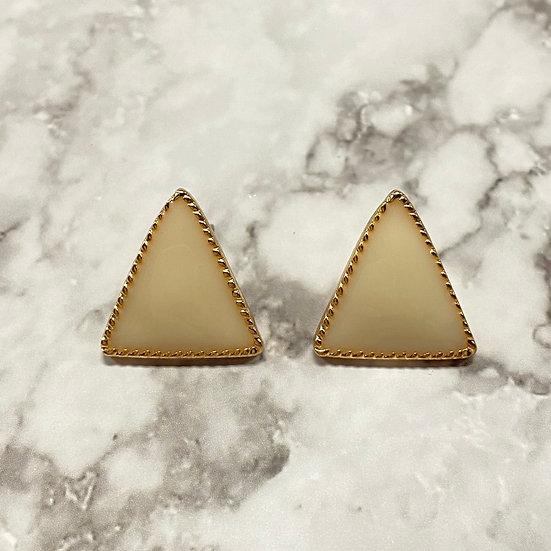 Art Deco Triangle Stud Earrings - Cream