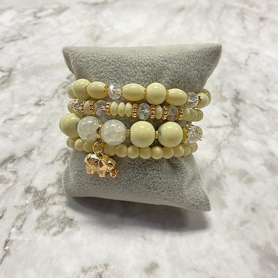 Beaded Stacking Bracelets - Cream w/ Elephant