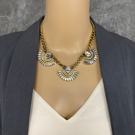 Medium Fan Style Rhinestone Necklace