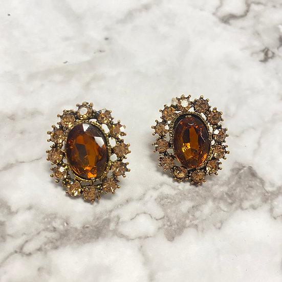 Oval Jeweled Stud Earrings - Amber