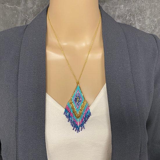 Turquoise & Pink Miyuki Bead Gold Chain Fringe Pendant Necklace
