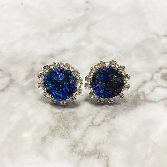 Rhinestone Druzy Stud Earrings - Galaxy