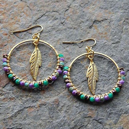 Wire Wrapped Beaded Hoop Earrings - Jewelry Making Kit