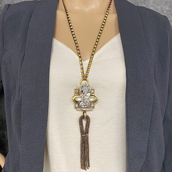 Art Deco Long Chain Tassel Necklace
