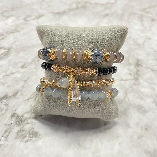 Beaded Stacking Bracelets - Gray & Gold