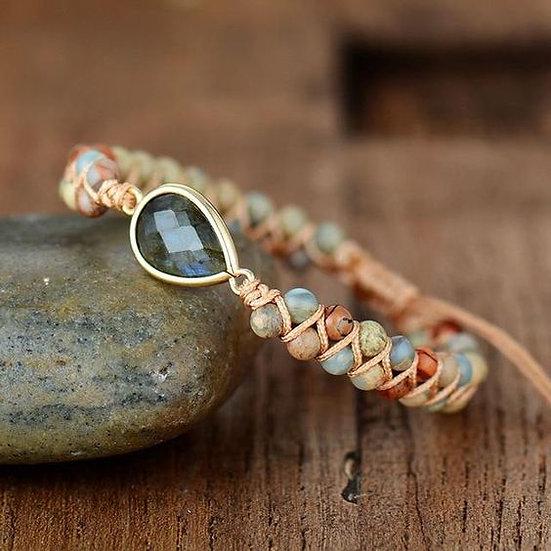 Beaded Stone & Cord Wrapped Bracelet - Jewelry Making Kit