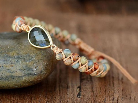How to Create a Beaded Stone & Cord Wrapped Bracelet