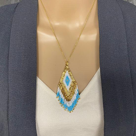 White & Blue Miyuki Bead Gold Chain Fringe Pendant Necklace