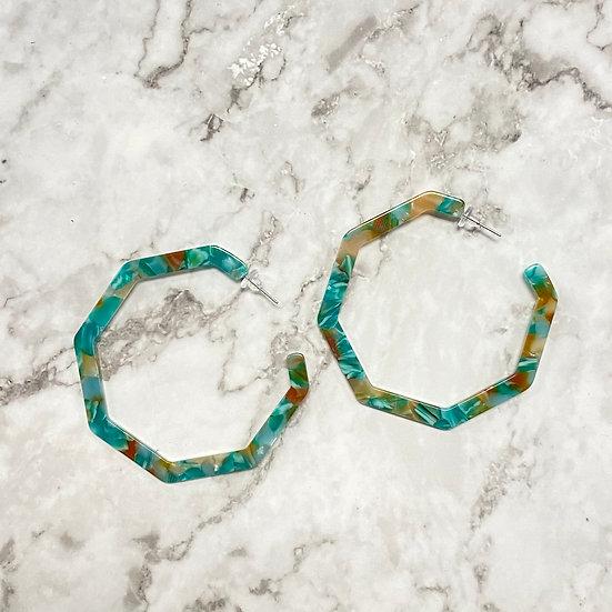Boho Resin Octagon Hoop Earrings