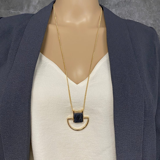 Black Marble Geometric Long Chain Necklace