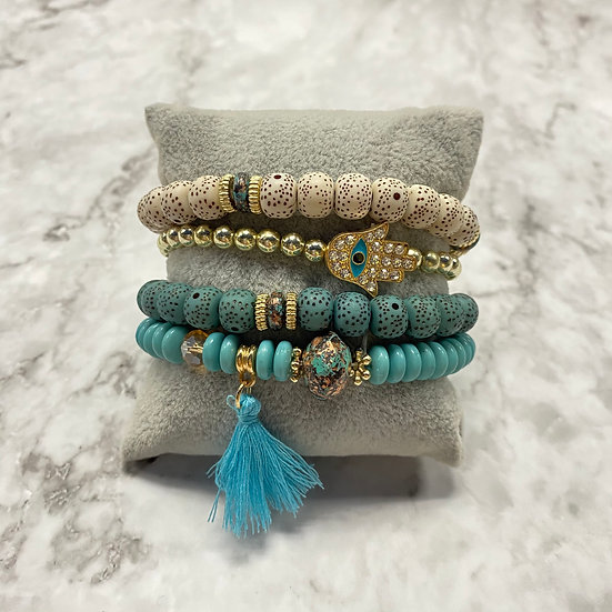 Beaded Stacking Bracelets - Natural Turquoise