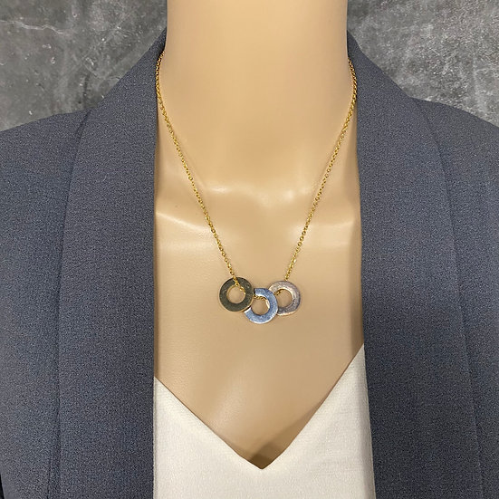 Trendy Mixed Metals Washer Necklace with Gold Chain