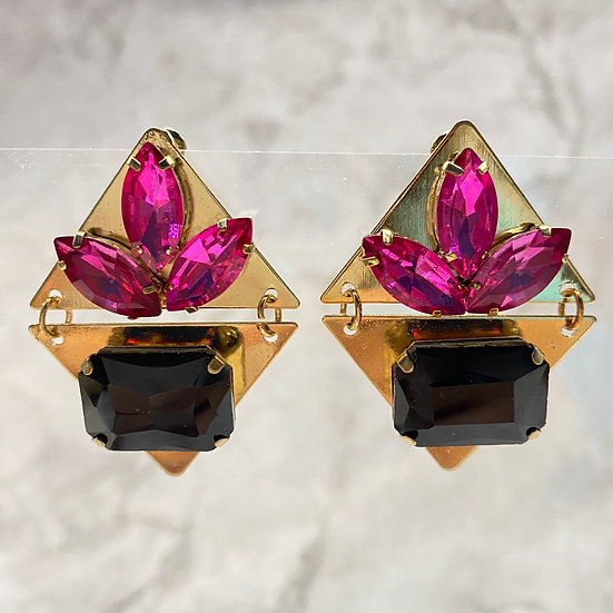 Two Part Jeweled Statement Earrings - Chic