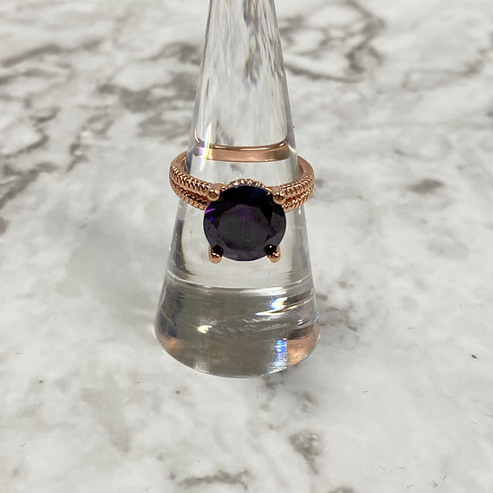 Double Band Rose Gold Ring with Purple Velvet Colored Jewel