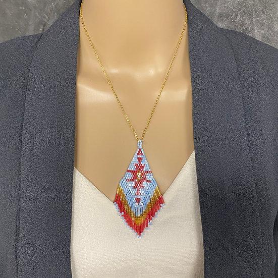 Red & Blue Miyuki Bead Gold Chain Fringe Pendant Necklace