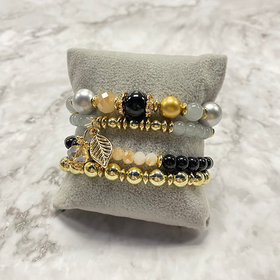 Beaded Stacking Bracelets - Black & Gold