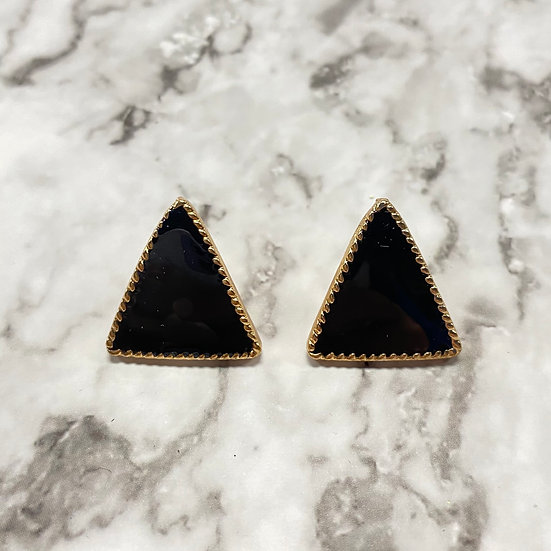 Art Deco Triangle Stud Earrings - Black