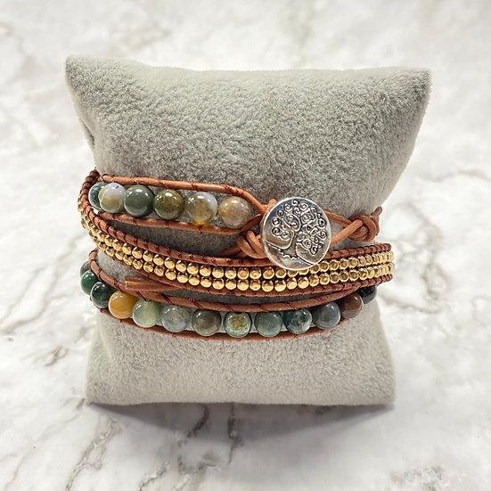 Beaded Wrap Bracelet - Gold Natural