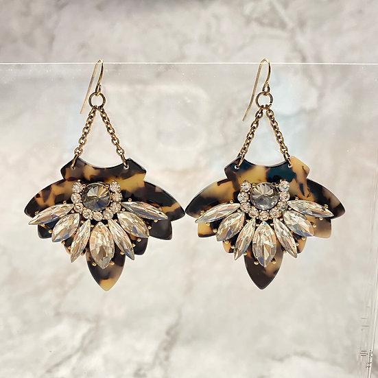 Soft Leopard Rhinestone Dangle Earrings