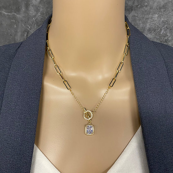 Gold Toggle Chain Necklace with Diamond Colored Pendant