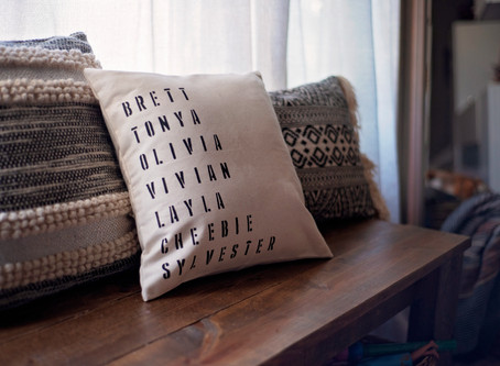 3 Step DIY Family Name Stencil Pillow