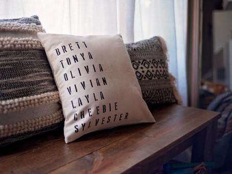3 Step DIY Family Name Stencil Pillow