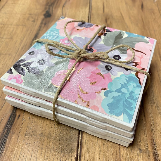 Vintage Decoupage Ceramic Coasters - Arts & Craft Kit