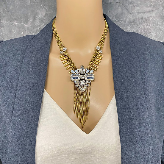Art Deco Chain Tassel Rhinestone Necklace