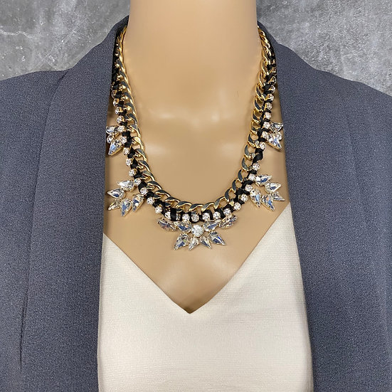 Black Ribbon Rhinestone Chain Necklace
