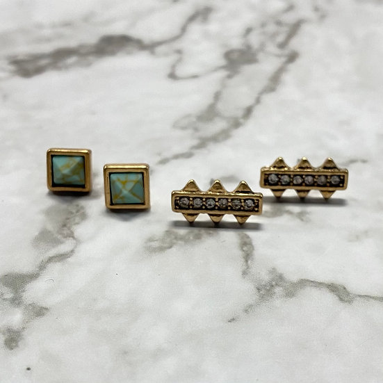 Art Deco Stud Earrings Set