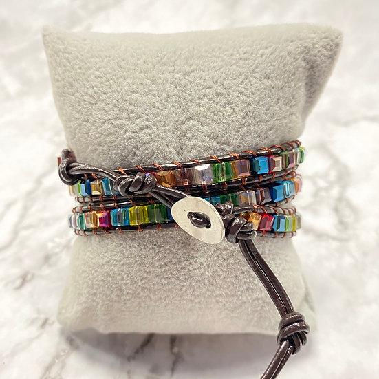 Beaded Wrap Bracelet - Square Rainbow