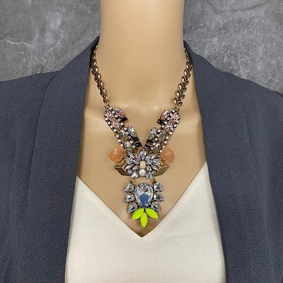Antique Blush & Neon Statement Necklace