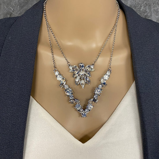Two Tiered Rhinestone Necklace - Silver